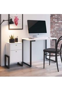 Conjunto Escrivaninha Porto E Criado Mudo Wolli Siena Móveis Branco