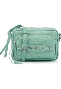 Bolsa Pequena Em Couro Verde Com Bolso Frontal