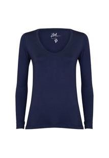 Camisetas Khelf Camiseta Feminina Manga Longa Decote V Azul