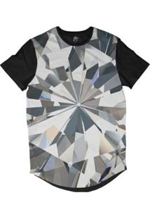 Camiseta Bsc Longline Diamante Brilhante Sublimada Masculina - Masculino-Cinza