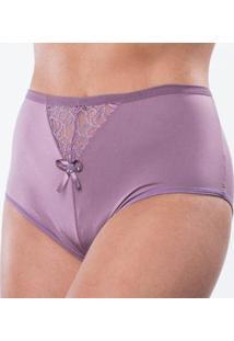Calcinha Microfibra Cintura Alta Com Detalhes - Feminino-Violeta