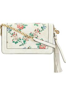 Tory Burch Floral-Print Leather Crossbody Bag - Branco