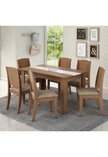 Conjunto Sala De Jantar Mesa Barbara 6 Cadeiras Siena Móveis Savana/Suede Marfim