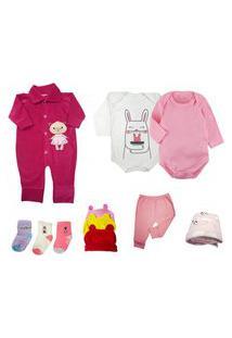 Kit Bebê 11 Peças Mini Enxoval Inverno Rosa