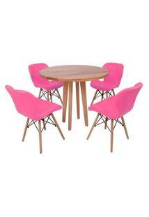 Conjunto Mesa De Jantar Em Madeira 90Cm Com Base Vértice + 4 Cadeiras Slim - Rosa