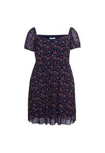 Vestido Curto Almaria Plus Size Sinap Estampado Azul