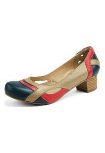 Sapato Miuzzi Linha Retro Vintage Taupe Azul Marinho