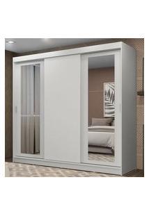 Guarda-Roupa Casal Madesa Kansas 3 Portas De Correr Com Espelhos 3 Gavetas Branco Cor:Branco