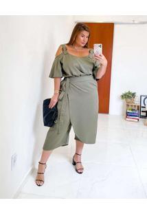 Blusa Almaria Plus Size Miss Taylor Alça Fivela Ve