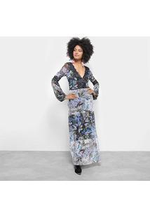 Vestido Longo Carmim Evasê Floral Detalhe Renda - Feminino-Estampado