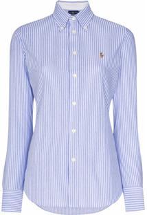 Polo Ralph Lauren Camiseta Com Listras E Logo Bordado - Azul