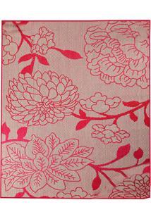 Tapete Sisllê Floral Iv Retangular Polipropileno (50X80) Bege E Vermelho