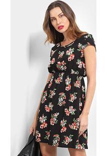 Vestido Pérola Floral Evasê - Feminino-Preto+Vermelho