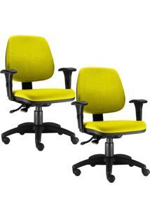 Kit Cadeiras Giratória Lyam Decor Job Amarelo