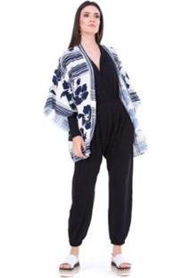 Kimono Ticantê Lenço Feminino - Feminino-Azul+Branco