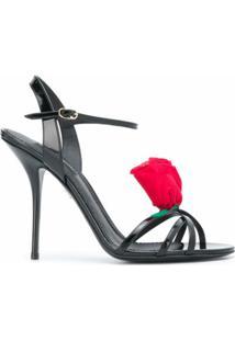 Dolce & Gabbana Sandália Com Aplicação De Rosa - Preto