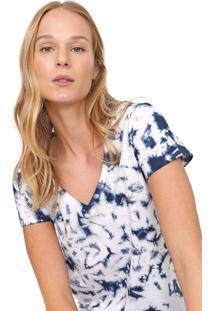 Camiseta Aeropostale Tie Dye Branca/Azul-Marinho