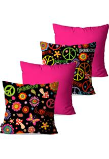 Kit Com 4 Capas Para Almofadas Pump Up Decorativas Pink Peace Love 45X45Cm