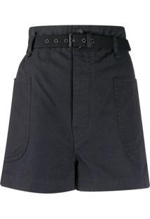 Isabel Marant Étoile Short Cintura Alta Com Cinto - Preto
