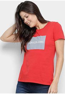 Camiseta Calvin Klein Manga Curta Feminina - Feminino-Vermelho