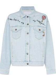 Mira Mikati Jaqueta Jeans Com Transparência - Azul