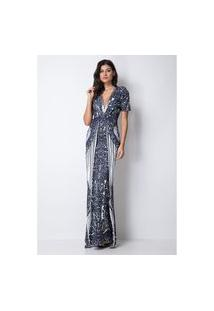 Vestido Sereia Estampado Lança Perfume Vestido Azul
