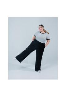 Camiseta Almaria Plus Size Miss Taylor Listrada Cinza