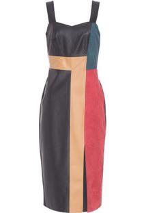Vestido Decote Compose Morena Rosa - Preto