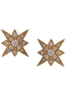 Marchesa Par De Brincos De Ouro Amarelo 18K Com Diamante - Dourado