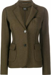 Aspesi Blazer De Lã Com Costura Exposta - Verde