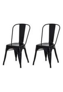 Kit 2 Cadeiras Tolix Iron Design Preta Aco Industrial Sala Cozinha Jantar Bar