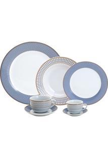 Aparelho De Jantar Super White Geométrico Azul 42 Peças