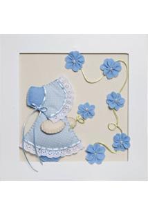 Quadro Decorativo Camponesa Flores Bebê Infantil Potinho De Mel Azul