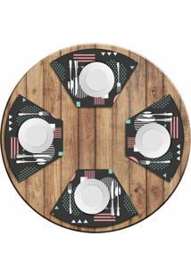 Jogo Americano Love Decor Para Mesa Redonda Wevans Abstract Circulos Kit Com 4 Pçs - Kanui