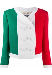Moschino Jaqueta Cropped Com Estampa De Bandeira Italiana - Branco