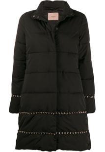 Twin-Set Braid Long Line Puffer Jacket - Preto