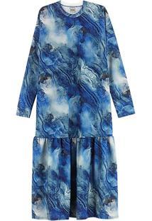 Vestido Azul Midi Marmorizado