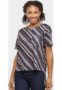 Camiseta Lança Perfume Estampada Bolso Feminina - Feminino-Marinho