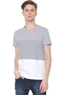 Camiseta Tommy Hilfiger Color Block Cinza/Branca