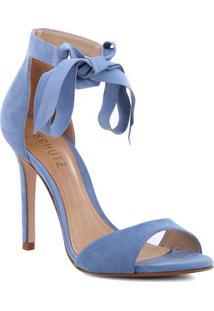Sandália Tradicional Em Couro Com Amarração- Azul Claro