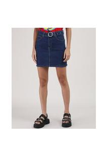 Saia Jeans Feminina Curta Com Cinto Azul Escuro