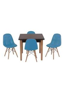 Conjunto Mesa De Jantar Luiza 80Cm Preta Com 4 Cadeiras Botonê - Turquesa