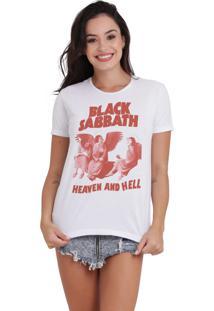 Camiseta Básica Feminina Heaven And Hell Branca - Kanui