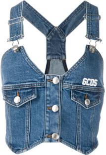 Gcds Blusa Jeans Com Botões - Azul