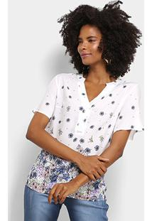 Camisa Manga Curta Mi Floral Gola V Botões Feminina - Feminino-Branco
