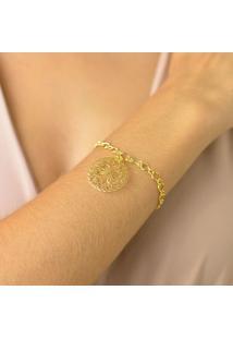Pulseira Corrente Elos Com Pingente Mandala Flor Banhado Em Ouro 18K