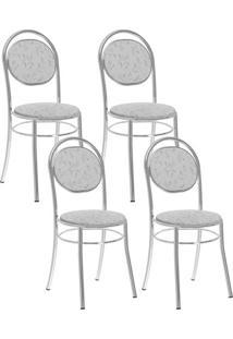 Cadeira 190 Cromada 04 Unidades Fantasia Branco Carraro
