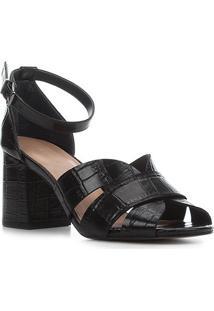 Sandália Couro Shoestock Croco Salto Bloco Médio Feminina - Feminino-Preto