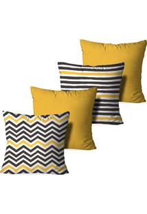 Kit 4 Capas Love Decor Para Almofadas Decorativas Abstrato Stripes Multicolorido Amarelo