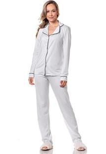 Pijama Feminino Camiseta Manga Longa Calã§A Macia Homewear - Branco - Feminino - Dafiti
